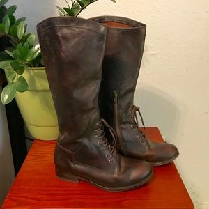 FRYE Tall Brown String Up Leather Boots